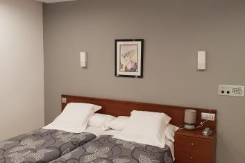 Double room with two twin beds interior.